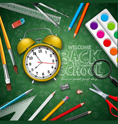 back to school design with yellow alarm clock and vector image