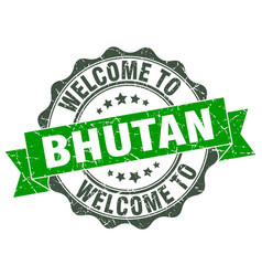 Bhutan round ribbon seal vector