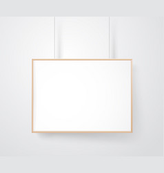Blank wood frame on the wall mockup ready for a vector