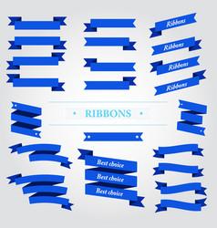 blue ribbons set on white background vector image