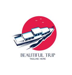 Boat vacation logo design vector
