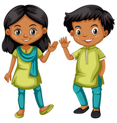 Boy and girl from india in green and blue outfit vector