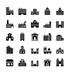 building icons set in flat style vector image