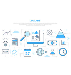 Business analysis concept with various icon line vector