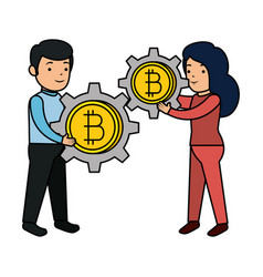 business people lifitng bitcoin vector image