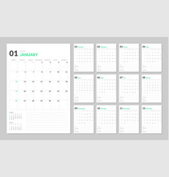 Calendar for 2020 new year in clean minimal table vector