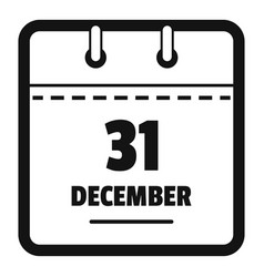 calendar thirty first december icon simple black vector image
