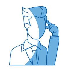 Cartoon business man manager employee thinking vector