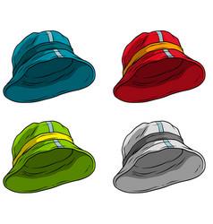 Cartoon panama hat or cap icon set vector