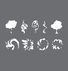 cartoon smoke sprite set vector image