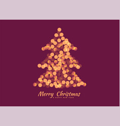 christmas tree made with bokeh lights background vector image