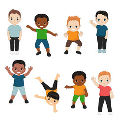 collection of happy boys collection of happy boys vector image