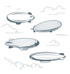 collection vintage airships - hot air balloons vector image