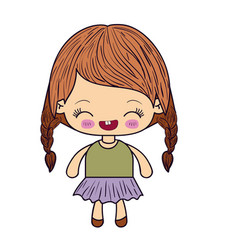 Colorful silhouette of kawaii little girl with vector