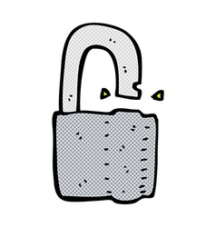 comic cartoon padlock vector image