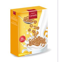 Cornflakes cereals with milk splash vector