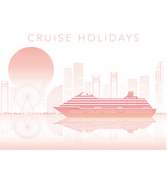 cruise liner and cityscape with text space vector image