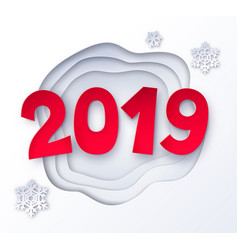 cut paper of 2019 numbers vector image