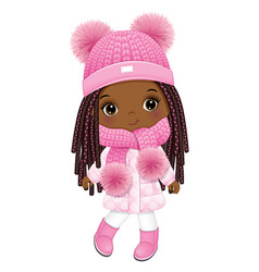Cute cool little girl wearing pink winter outfit vector