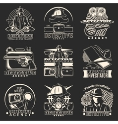 Detective story labels set vector