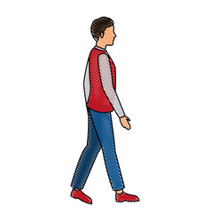 Drawing young guy walking casual clothes vector