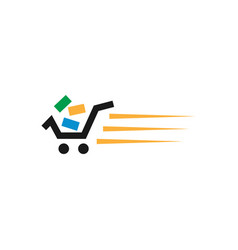 Fast shopping cart retail logo design template vector