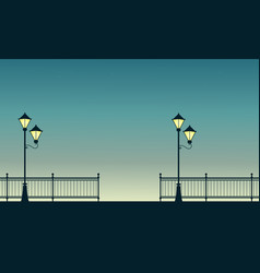 Fence with street lamp scenery at sunset vector