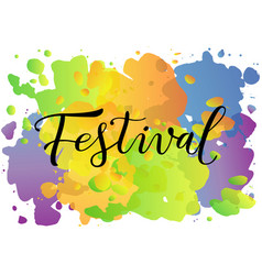 festival in black on colorfull background vector image