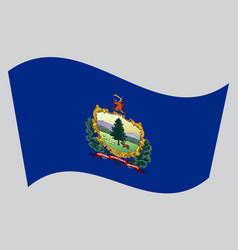 flag of vermont waving on gray background vector image