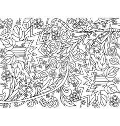 Flowers coloring for adults vector