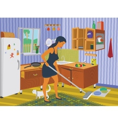 Girl cleaning the kitchen vector