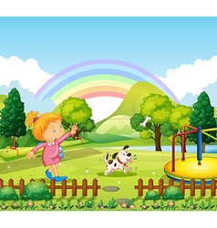 Girl throwing bone for dog in the park vector