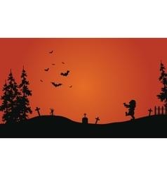 Halloween red background scenery vector image