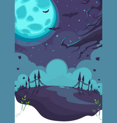 halloween theme on background moon vector image