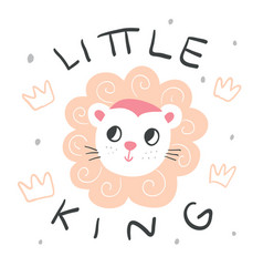 Hand drawn lion with lettering and crowns vector