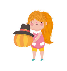 happy thanksgiving day little girl holding pumpkin vector image