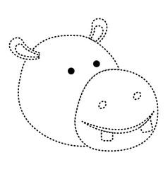 Hippopotamus cartoon head in black dotted vector