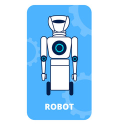 Humanoid on wheels flat poster template vector