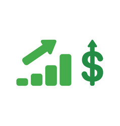 Icon concept of sales bar graph with dollar vector