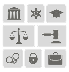 icons with symbols of law and courts vector image