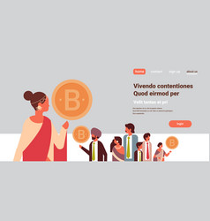 indian businesswoman leader holding bitcoin crypto vector image