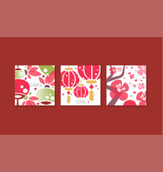 japanese greeting cards set banner poster vector image