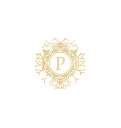 letter p initial logo for wedding boutique luxury vector image