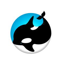 logo cute whale orca blue vector image