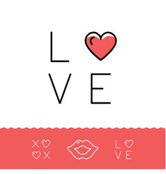 Love text lips icon xoxo - hugs and kisses vector