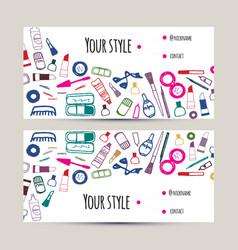 Makeup artist business card invitation template vector