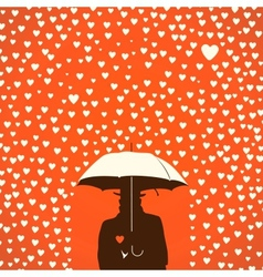 Men under umbrella on hearts shapes rainy vector image