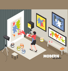 Modern art studio isometric vector