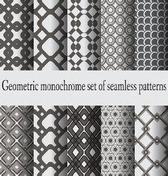 monochrome set seamless patterns vector image