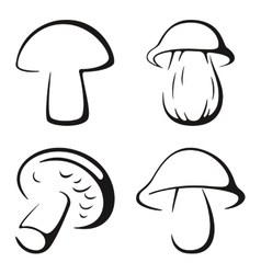 Mushrooms black icon set vector